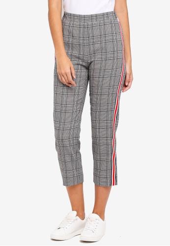 ZALORA grey Tapered Leg Pants With Side Stripe 38669AA0DA5F31GS_1