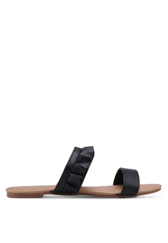 Rubi black Everyday Double Strap Ruffle Slides 6BB69SH4102883GS_1
