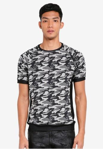UniqTee grey Camo Colorblock Short Sleeve T-Shirt 55C44AAC6D3A2EGS_1