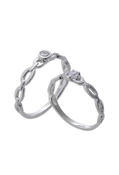Chain Silver Couple Ring with Artificial Diamonds lr0006