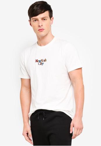 Topman 米褐色 印花T恤 4B28FAA56F4D6FGS_1