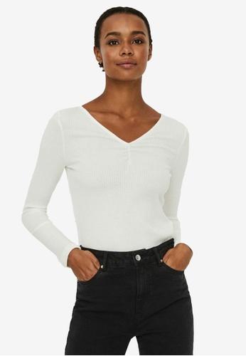 Vero Moda white Polly Long Sleeve V-Neck Top 55F96AA2E4CEB6GS_1
