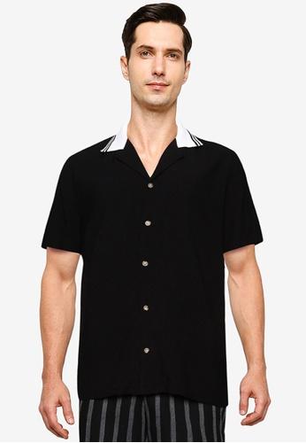 ZALORA BASICS black Rib Collar Shirt E95EBAAF9090E8GS_1