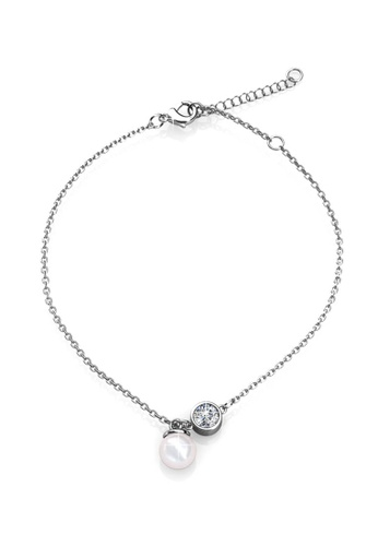 Her Jewellery Crystal Pearl Anklet (White Gold) - Made with premium grade crystals from Austria HE210AC13DWWSG_1
