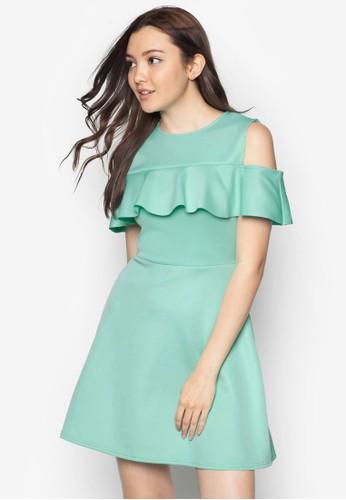 挖肩打摺合身傘狀洋裝esprit hong kong, 服飾, 洋裝