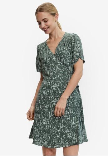 Vero Moda green V-neck Mini Dress 0442BAA2B4D1A8GS_1