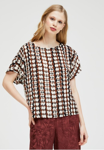 Sisley black Patterned Blouse DCE9EAA4B5BCAAGS_1