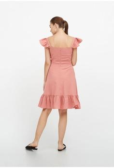 a639d1bc1d12b QLOTHE Margot Ruffle Strap Button Dress S  59.00. Sizes S M L