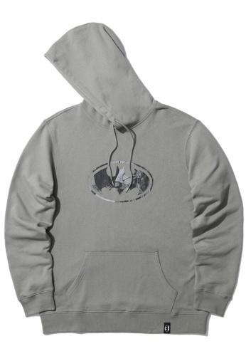 BLOCKAIT grey X Batman emblem print hoodie BB6F5AA91F67ADGS_1