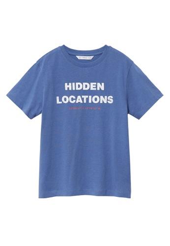 MANGO KIDS blue Message Organic Cotton T-Shirt 4468EKA2B655A4GS_1