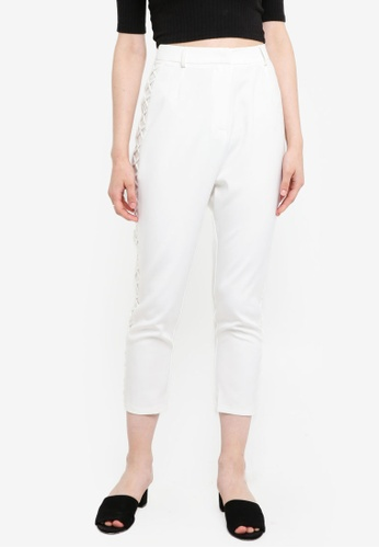 Something Borrowed white High Waist Lace Up Trousers AC430AAB8E0032GS_1