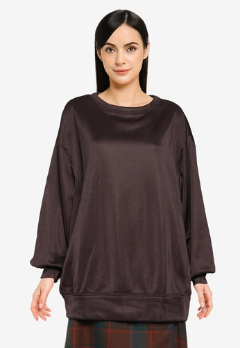 Heather brown Classic Oversized Sweater 5B64FAAFD99263GS_1