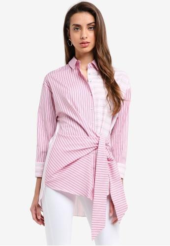 River Island pink Mixed Stripe Shirt 36F75AA2EAF123GS_1