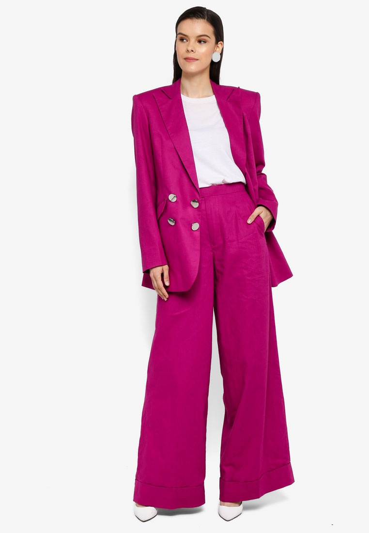 Tailored Leg Fuschia Wide AfiqM Pants q41wWxSagx