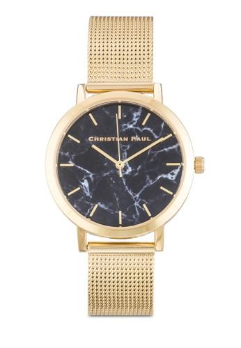 Brighton 35mm 網孔帶大理石錶盤zalora 折扣碼刻度圓錶, 錶類, 飾品配件