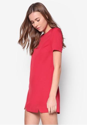 缺角下擺zalora 衣服尺寸直筒連身裙, 服飾, 服飾