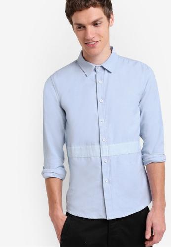UniqTee blue Slim Fit Oxford Shirt UN097AA84IQXMY_1