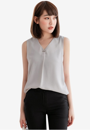 Eyescream grey Minimalist V-Neck Top A1F48AACD74EB6GS_1
