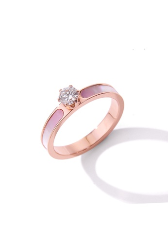 CELOVIS pink and gold CELOVIS - Rosaline Pink Mother Pearl with Zirconia Solitaire Ring C1A17AC1B33A7DGS_1