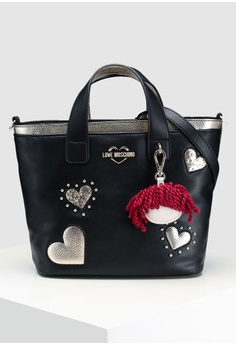 e06cfc89d71b Love Moschino black Textured Grain Shoulder Bag 6DA25AC249BC4AGS 1