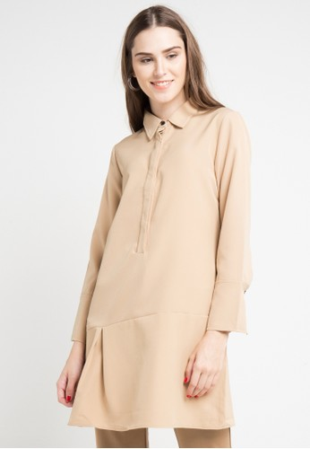 ELLE brown Tunic With Buttoned Collar A4F49AABECE847GS_1