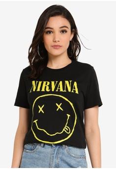 b6395e1f0e2d MISSGUIDED black Nirvana Licence T-Shirt F0B39AA8BC44ABGS_1