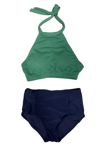 ZITIQUE green Halter High Waist Bikini Set - Green A8CB1USF6A7F04GS_1