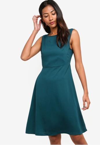 ZALORA BASICS green Basic Fit And Flare Dress 5E02FAAAAE6763GS_1