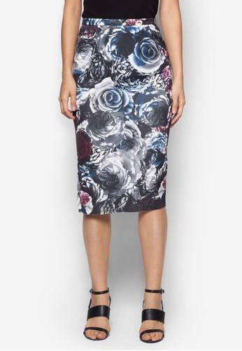 花卉印花及膝短裙, 服飾,zalora開箱 裙子