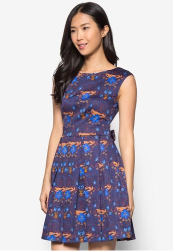 碎花繫帶無袖連身裙, 服飾,zalora 評價 洋裝