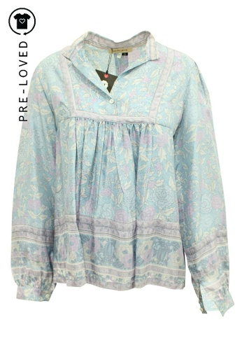 See By Chloé blue Pre-Loved see by chloé Blue Floral Print Oversized Silk Blouse 79640AA9D73543GS_1