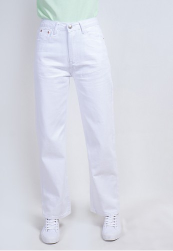 Odiva Woman white ZENITE STRAIGHT JEANS - WHITE AF0F6AAD68B89EGS_1