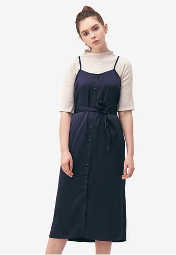 Kodz navy Midi Dress with Waist Tie Detail 52213AA8950AD1GS_1