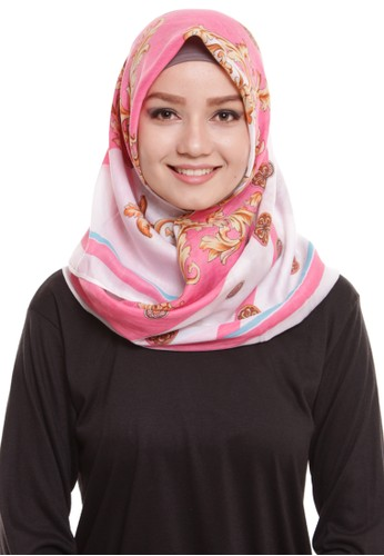 Mybamus Ethnic Square Hijab Viscose Cream - Peach