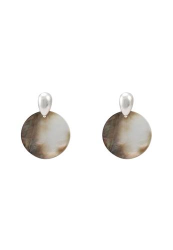 GLOBAL WORK grey Round Shell Earrings 00D01AC8CB2622GS_1