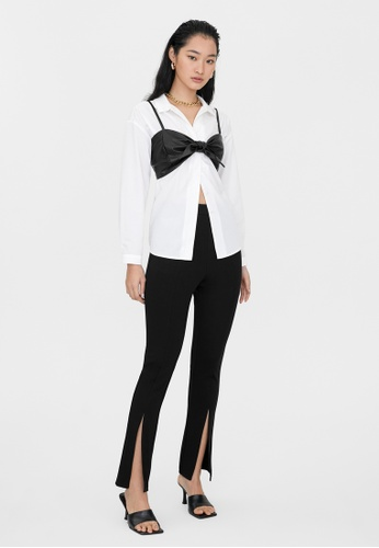 Pomelo black Front Slit Fitted Pants - Black 63B73AAD187FC1GS_1