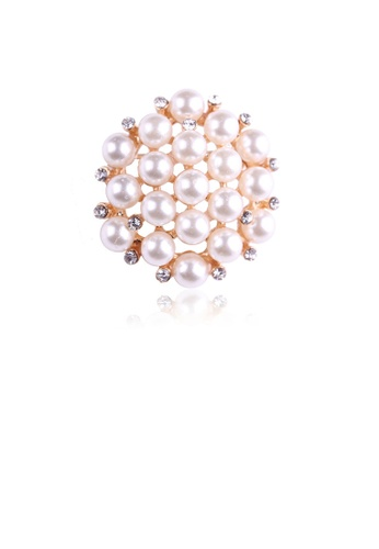 Glamorousky white Fashion and Elegant Plated Gold Geometric Round Imitation Pearl Brooch with Cubic Zirconia 1E813ACB71F02AGS_1