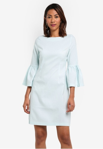 Vesper blue Amy Gingham Sleeved Shift Dress DB131AA3295C94GS_1