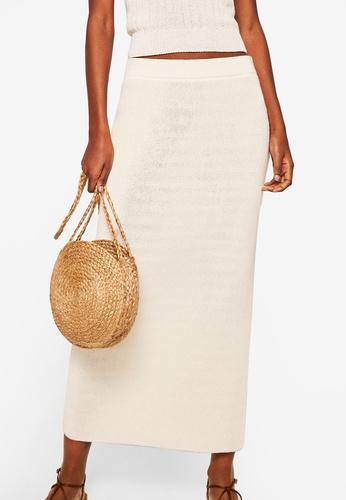 Mango white Knitted Cotton Skirt 06B04AA3529826GS_1