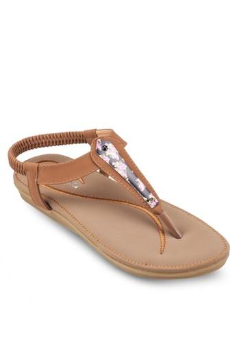 彈性踝帶夾腳涼鞋,esprit香港門市 女鞋, 涼鞋