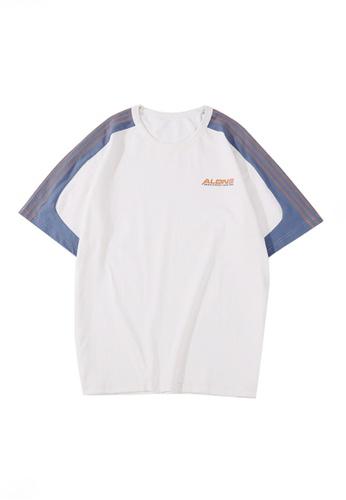 Twenty Eight Shoes 白色 VANSA  男女款撞色拼接短袖T恤 VCU-T1029 CDAD9AA80A31ADGS_1