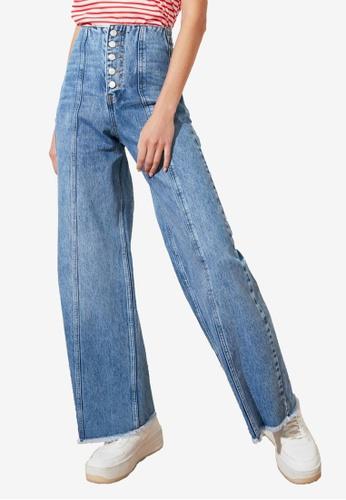 Trendyol blue Front Button High Waist Wide Leg Jeans BD5FEAAF121DFBGS_1