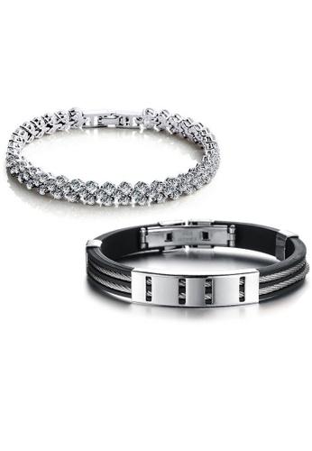 YOUNIQ silver YOUNIQ Dazzling Platinum Plated Silver Bracelet & Silicone with  Duo Titanium Steel Line Silver Bracelet (Couple Set)-Silver YO999AC99DAEMY_1
