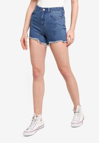 Something Borrowed blue Frayed Hem Denim Shorts E3A25AAB2420B6GS_1