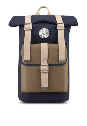 Jack Wills navy Asbdown Roll Top Backpack D4002AC434842CGS_1