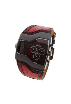 Oulm Military Men's Watch with Dual Movt Dial Leather