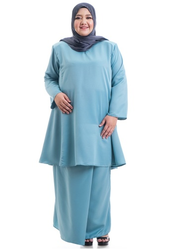 Ashura green and blue and multi Hanaa Kurung Pahang Plus Size C096EAA23D50EDGS_1