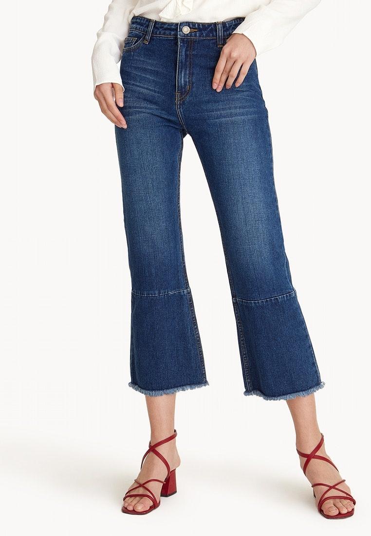 Hem Pomelo Rise Mid Navy Jeans Cropped Frayed HWaIz8v