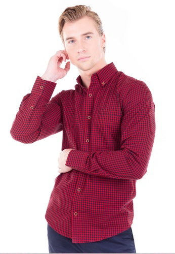Août red Août Singapore - Men's Long Sleeved Mini Checkered Cotton Shirt - Audrey D7225AA2EAD7A6GS_1