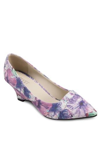 Elly 印花尖頭esprit home 台灣楔型鞋, 女鞋, 鞋